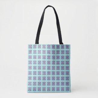 Navy Blue Aqua Greek Pattern Tote Bag