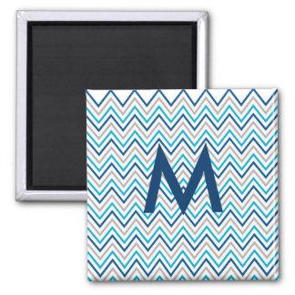 Navy Blue Aqua Grey Chevron Zigzag 2 Inch Square Magnet