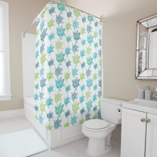 Navy Blue Aqua Lime Green Sea Turtle Pattern Shower Curtain