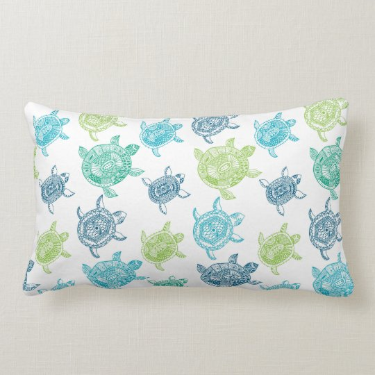 Navy Blue Aqua Lime Green Teal Sea Turtles Lumbar Pillow