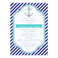 Navy blue, aqua nautical wedding bridal shower 5