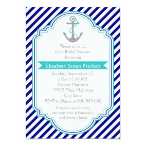 Navy blue, aqua nautical wedding bridal shower 5x7 paper invitation card