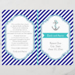 """Navy blue, aqua nautical wedding program<br><div class=""""desc"""">Navy blue, white stripes and anchor aqua blue nautical wedding folded wedding ceremony and party or reception program. A stylish striped pattern design with navy blue, white diagonal stripes, an anchor with a aqua blue love heart and rope and grey and white text in a frame with a turquoise banner....</div>"""