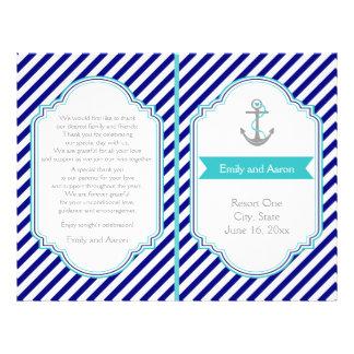 Navy blue, aqua nautical wedding program