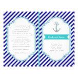 "Navy blue, aqua nautical wedding program 8.5"" x 11"" flyer"