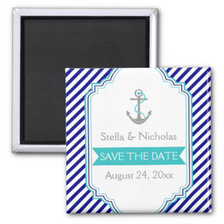 Navy blue, aqua nautical wedding Save the Date 2 Inch Square Magnet