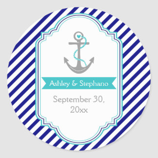 Navy blue, aqua nautical wedding Save the Date Classic Round Sticker