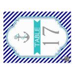 Navy blue, aqua nautical wedding table number postcards