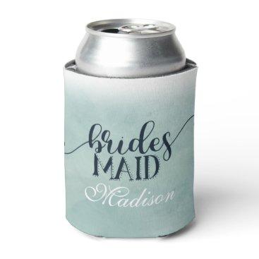 Beach Themed Navy Blue Aqua Ombre Watercolor Wedding Bridesmaid Can Cooler