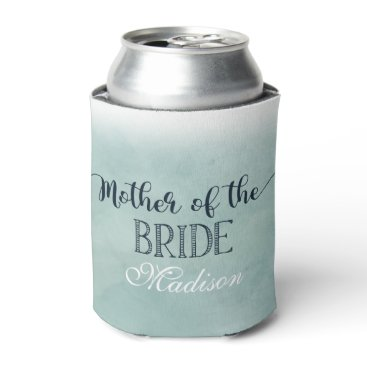 Beach Themed Navy Blue Aqua Watercolor Mother of the Bride Can Cooler