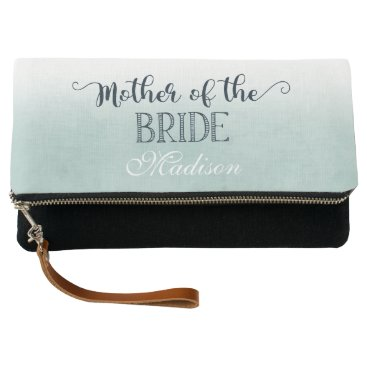 Beach Themed Navy Blue Aqua Watercolor Mother of the Bride Clutch