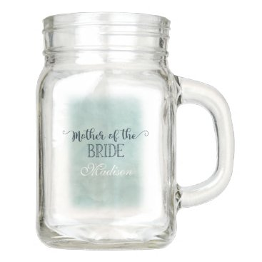 Beach Themed Navy Blue Aqua Watercolor Mother of the Bride Mason Jar