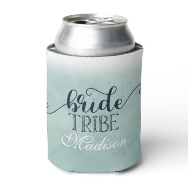 Beach Themed Navy Blue Aqua Watercolor Wedding Bride Tribe Can Cooler