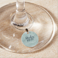 Navy Blue Aqua Watercolor Wedding Bridesmaid Wine Charm