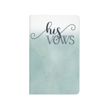 Beach Themed Navy Blue Aqua Watercolor Wedding His Vows Journal