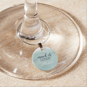 Beach Themed Navy Blue Aqua Watercolor Wedding Maid of Honor Wine Glass Charm