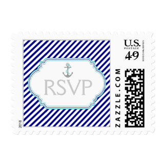 Navy blue, aqua, white nautical wedding RSVP Postage