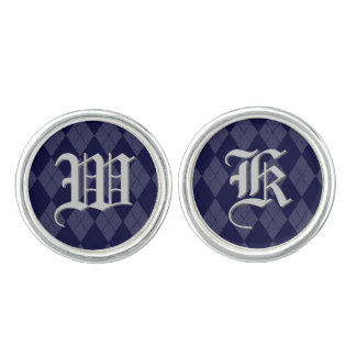 Navy Blue Argyle Monogram Inital Custom Letter Cufflinks