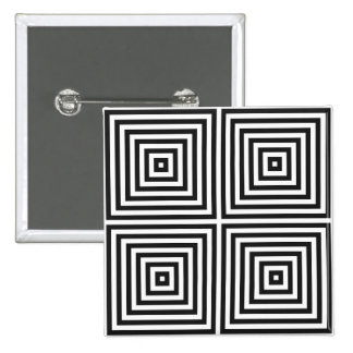 Navy Blue Art Concentric Squares on White BG Button