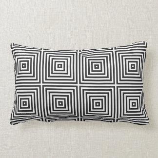 Navy Blue Art Concentric Squares on White BG Lumbar Pillow
