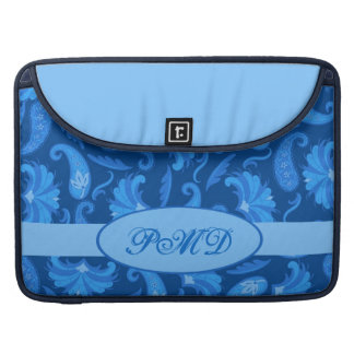 Navy & Blue Art Deco Paisley Monogram Sleeve For MacBooks