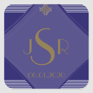 Navy Blue Art Deco Posh Wedding Monogram Sticker Stickers