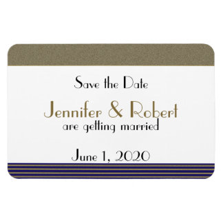 Navy Blue Art Deco Posh Wedding Save the Date Magnet