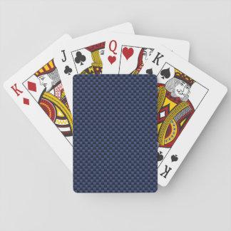 Navy Blue Automotive Carbon Fiber Weave Print Playing Cards
