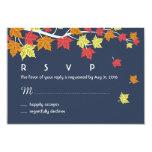 Navy Blue Autumn Wedding RSVP Card Maple Leaves