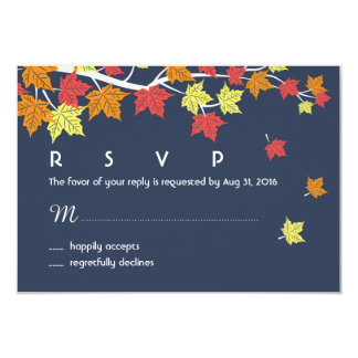 Navy Blue Autumn Wedding RSVP Card Maple Leaves