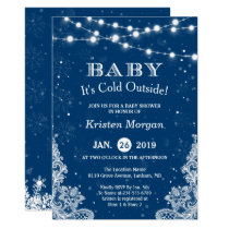 Navy Blue Baby Its Cold Outside Winter Baby Shower Card