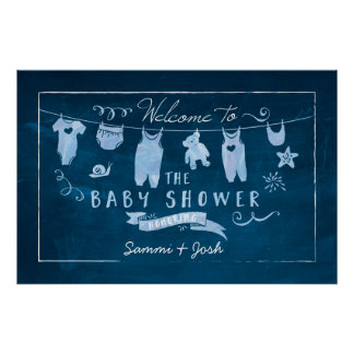 Navy Blue Baby Shower Welcome Sign Poster