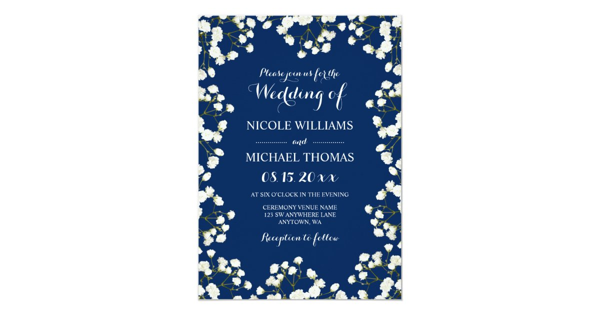 Navy Blue Baby S Breath Border Wedding Invitations