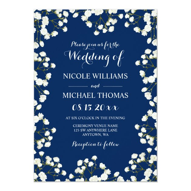 navy blue baby u0026 39 s breath border wedding invitations