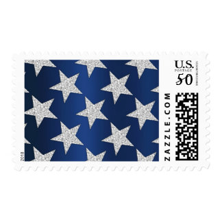 Navy Blue Background with Silver Star Postage