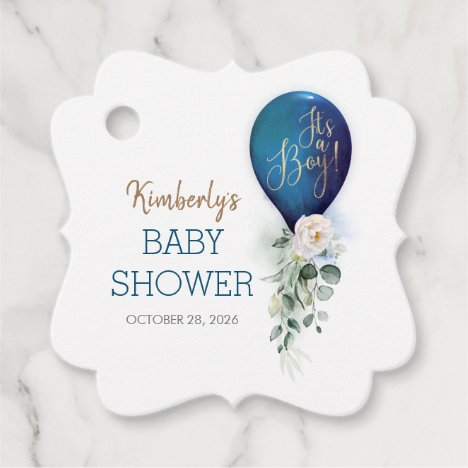 Navy Blue Balloon Baby Shower Thank You Favor Tags