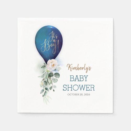 Navy Blue Balloon Garland Elegant Baby Shower Napkins