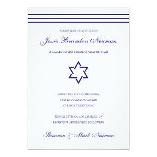 Navy Blue Bar Mitzvah Bat Mitzvah Invitation