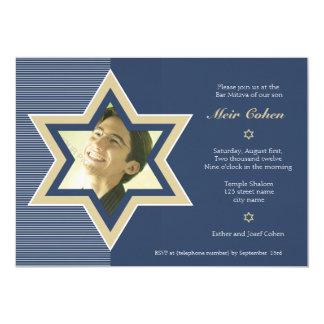Navy Blue - Bar Mitzvah Invitation