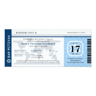 Navy Blue Bar Mitzvah World Traveler Boarding Pass Card