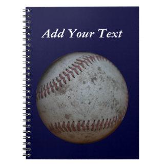 Navy Blue Baseball Add Name School Notebook