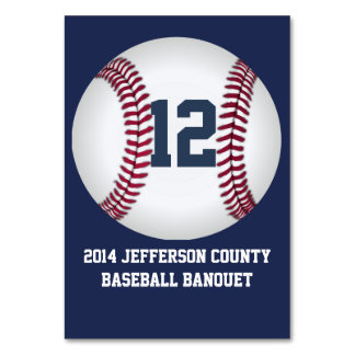 Navy Blue Baseball Banquet Table Number Card