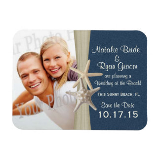 Navy Blue Beach Save the Date Photo Magnet