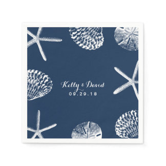 Navy Blue Beach Seashells Wedding Paper Napkin