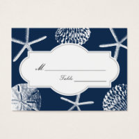 Navy Blue Beach Seashells Wedding Place/Seating Business Card