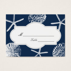 Navy Blue Beach Seashells Wedding Place/seating Business Card at Zazzle