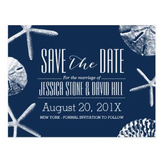 Navy Blue Beach Seashells Wedding Save the Date Postcard