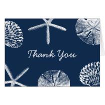 Navy Blue Beach Theme Seashells Thank You Card