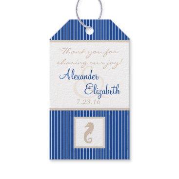 Beach Themed Navy Blue Beach Wedding Seahorse Guest Favor Gift Tags