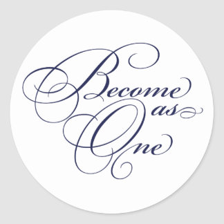 Navy Blue Become as One Christian Wedding Stickers